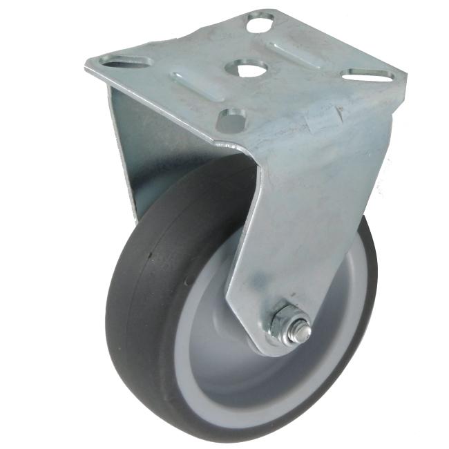 Transportrolle Bockrolle 80 mm Gummibereifung grau spurlos Platte Rolle Rad